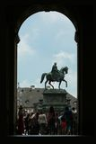 Statue of King. Arch and Equestrian statue of the saxon King Johann on the Theatre square in Dresden Royalty Free Stock Images