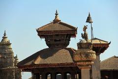 Statue of King Bhupatindra Malla at Bhaktapur Durbar Square 2 Royalty Free Stock Image