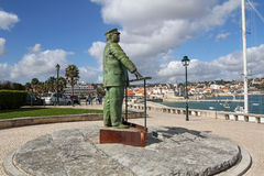 Statue of King Carlos I of Portugal in Cascais harbor, Portugal Stock Image