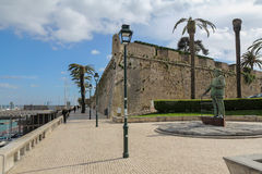 Statue of King Carlos I of Portugal in Cascais harbor, Portugal Royalty Free Stock Photos