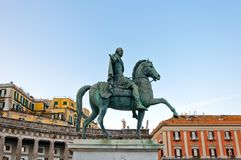 Statue of King Charles III in Naples, Italy. NAPLES, ITALY - JANUARY 1, 2014: statue of King Charles III in Plebiscito Square - Naples, Italy. Naples' historic stock image