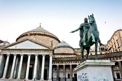 Statue of King Charles III in Naples, Italy Royalty Free Stock Photos