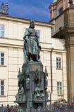 Statue of King Charles IV Karolo Quarto near Charles Bridge in Prague Stock Photography