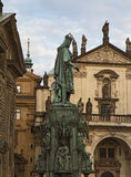 Statue of  King Charles IV near Charles Bridge in Prague. Royalty Free Stock Photography