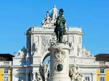 Statue of King D. Jose I and the Arch of Triumph of Rua Augusta, Stock Photo