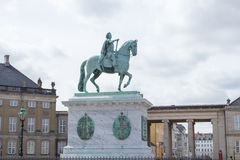 Statue of King Frederik V. The equestrian statue of King Frederik V at the Amalienborg Palace in Copenhagen, the capital of Denmark Royalty Free Stock Image