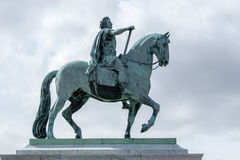 Statue of King Frederik V. The equestrian statue of King Frederik V at the Amalienborg Palace in Copenhagen, the capital of Denmark Stock Images