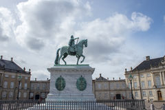 Statue of King Frederik V. The equestrian statue of King Frederik V at the Amalienborg Palace in Copenhagen, the capital of Denmark Stock Photography