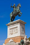 Statue of King in front of Royal Palace - Madrid Stock Image