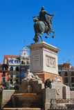 Statue of King in front of Royal Palace - Madrid Spain Stock Photography