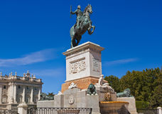 Statue of King in front of Royal Palace - Madrid Spain Royalty Free Stock Images