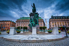 Statue of King Gustav II Adolf at Gustav Adolf's torg in Norrmal Stock Photo