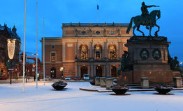 Statue of King Gustav II Adolf and Royal Opera in Stockholm, Sweden Royalty Free Stock Image