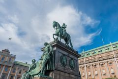 Statue of King Gustav II Adolf. Stockholm, Sweden- October 5, 2017: Statue of King Gustav II Adolf. At Gustav Adolf& x27;s Square.  The statue was ordered 1757 Stock Images