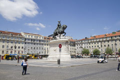 Statue of King Joao I at Figueiroa Square Stock Images