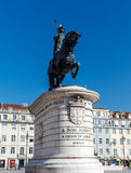 Statue of King John I in the Praça da Figueira. Royalty Free Stock Images