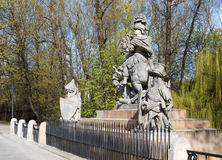 Statue of King John III Sobieski in Warsaw. Poland,Warsaw.Statue of King John III Sobieski in Warsaw near Lazienki Royal Park.Sculpture carved by Francis Pinck Royalty Free Stock Images