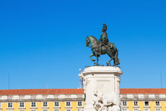 Statue of King Jose on the Commerce square  in Stock Image