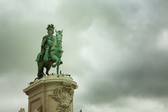 Statue of King Jose I in Commerce Square Stock Photo