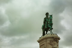 Statue of King Jose I in Commerce Square Royalty Free Stock Photography