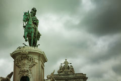 Statue of King Jose I in Commerce Square Stock Photography