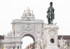 Statue of King Jose I at the Commerce Square (Praca do Comercio) Royalty Free Stock Image