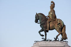 Statue of King Jose I from 1775 in Lisbon. Equestrian bronze statue of King Jose I from 1775 at sunrise in Lisbon, Portugal Stock Photo