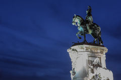 Statue of King Jose I at Praca do Comercio in Lisbon Stock Photo