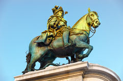 Statue of King Jose I of the Praca do Comercio in Lisbon Royalty Free Stock Photos