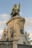 Statue of King Jose I of the Praca do Comercio in Lisbon Stock Photos
