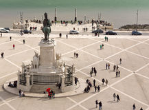 Statue of King Jose I on the Praca do Comercio in Lisbon Royalty Free Stock Photography