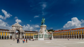 Statue of King Jose I and Rue Augusta Arch Royalty Free Stock Images