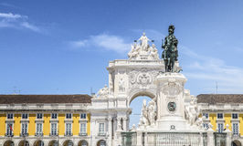 Statue of King Jose I and Rue Augusta Arch on Praca do Comercio in Lisbon, Portugal Stock Photos