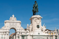 Statue of King Jose I and the Triumphal Arch in Lisbon, Portuga Stock Photos