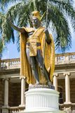 Statue of King Kamehameha in front of Aliiolani Hale. In Honolulu, Hawaii, USA Royalty Free Stock Photos