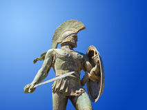 Statue of king Leonidas in Sparta, Greece. History background Stock Photography