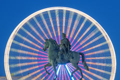 Statue of King Louis XIV by night Stock Photo