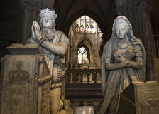 Statue of king Louis XVI ad Marie-Antoinette in  basilica of saint-denis Stock Image