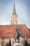 Statue of King Mathias in front of the church of Saint Michael Stock Image