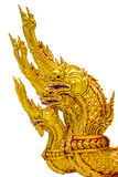 Statue king of na-gas. Close up of the golden naga or dragon shot with thai style art in front side Stock Images