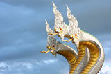 Statue king of nagas in Thai temple Stock Images