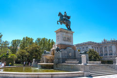 Statue of King at park in front of Royal Palace Stock Photos