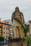 Statue of king pelayo in cangas de onis. Asturias , Spain. Don Pelayo, pelagius in english, was a national asturian hero during spanish reconquest royalty free stock photography