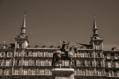 Statue of King Philip III at the Plaza Mayor square in Madrid stock photography