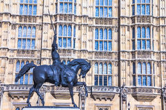 Statue of king Richard I at the Old Palace Yard of Westminster Palace Royalty Free Stock Image