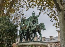Statue of King riding horse stock photo