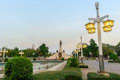 The statue of King of Siam Vajiravudh, or Rama VI, at Lumpini Pa Stock Photo