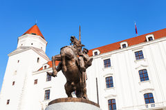 Statue of King Svatopluk I in Bratislava Castle Stock Photo