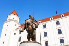 Statue of King Svatopluk I in Bratislava Castle Stock Photo