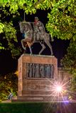 Statue of King Tomislav. On Main train station in Zagreb, near park Zrinjevac. Photo is taken during night time in fall of 2017 Stock Images
